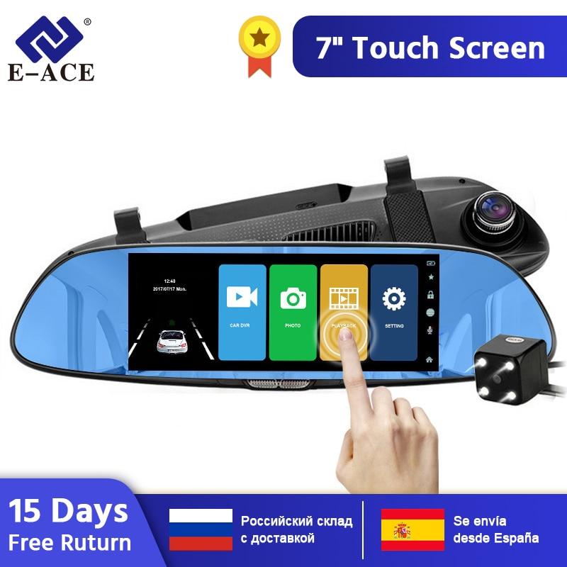 E-ACE 7.0 pouces voiture Dvr rétroviseur tactile Dash caméra Auto enregistreur vidéo FHD 1080P double objectif avec caméra de vue arrière Dashcam