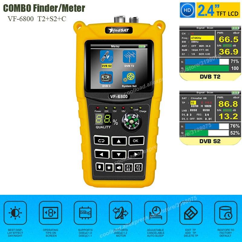 VF-6800 Satellite Finder Meter Dvb-t2 DVB S2 DVB C Combo Sat Finder Dvb t2 Receiver Satellite Satfinder 2 4inchColor LCD Screen