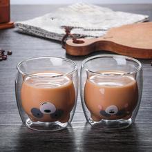3D 2-tier Drinkware piękny Panda niedźwiedź innowacyjnych kufle do piwa odporny na wysoką temperaturę podwójna ściana kubek do kawy rano mleka szklanka do soku tanie tanio Szkło Przezroczysty ROUND Double Wall Coffee Cup Ekologiczne