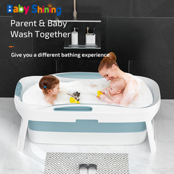Baby Shining 1.4m/55in Baby Bath Tub Portable Home Roller Massage Steaming Adult Bathtub Plastic Folding Thicken Bathtub Family