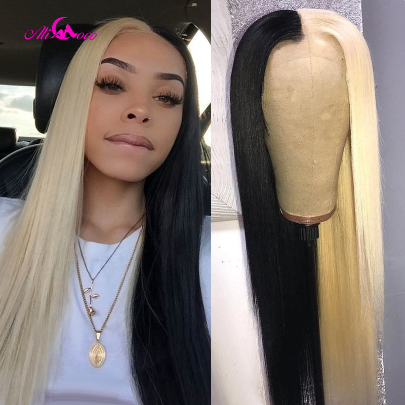 Ali Coco Straight Half 613 Half Black Lace Front Wig 8-26 Inch Brazilian Ombre Lace Front Human Hair Wig 150% Remy Hair Wigs