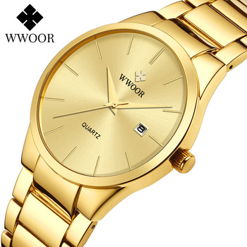 Relogio Masculino WWOOR Luxury Mens Analog Quartz Business Gold Wrist Watch Men Full Steel Waterproof Sports Watches Male Clocks relogio masculino wwoor luxury mens analog quartz business gold wrist watch men full steel waterproof sports watches male clocks