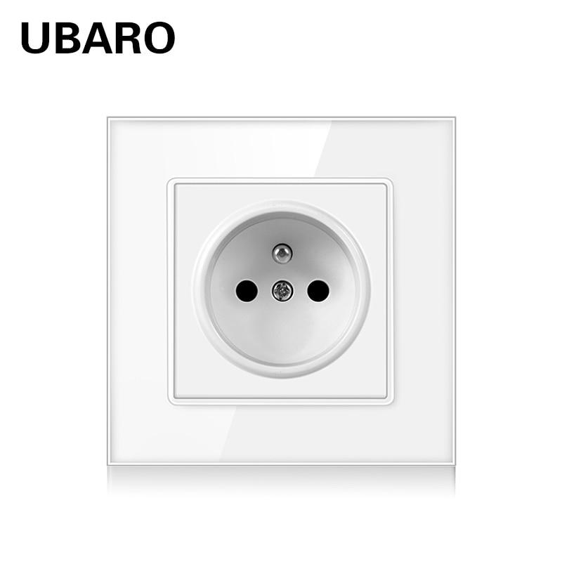 UBARO 86*86 мм электрическая розетка с украшением в виде кристаллов стена упрочненного стекла розетка электрическая розетка Steckdose приз Electrique ...