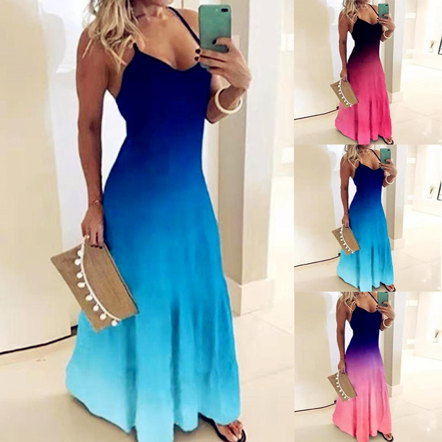 2020 Women Casual Loose Strap Dress Colors Summer Sexy Boho Bow Camis Befree Maxi Dress Plus Sizes Big Large Dresses Robe Femme 1