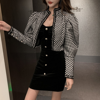 Short Loose Coat Woman 2019 Temperament Black White Color Design Feel Sleeve Short Jacket