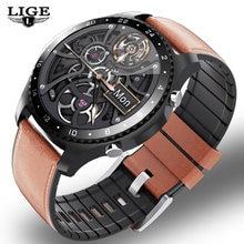 LIGE – montre connectée de luxe pour hommes, avec Bluetooth, appels, moniteur de fréquence cardiaque et de pression artérielle, mode 2020