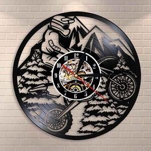 Motocykl górski jeździec ekstremalnej jazdy zawodników wyścigi BMX zegar ścienny Motocross motocykl motor terenowy płyta winylowa zegar ścienny prezent