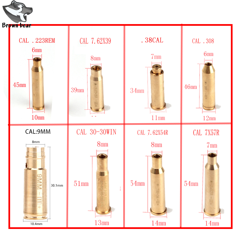 Tactical 655nm 635nm CAL .9mm.223 REM 7.62X39 7X57R .308 7.62X54 .38 kaseta Red Laser Boresighter Boresighter do polowania