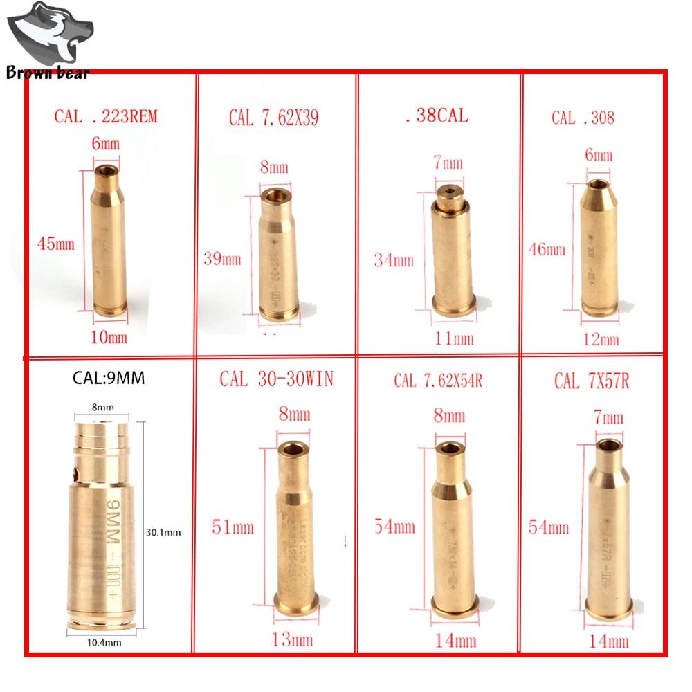 Taktische 655nm 635nm CAL .9mm.223 REM 7,62 X39 7X57R .308 7,62 X54 .38 Cartridge Red Laser Bohrung Sighter Schussprüfer für Jagd