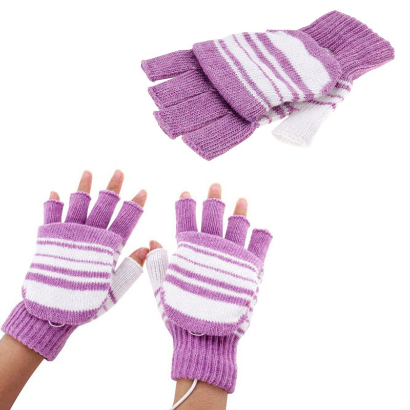 Knitted USB Heated Gloves Washable Heating Hunting Motocross Ski Winter USB Motorbike Motorcycle Outdoor Gloves