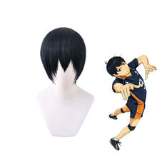 Haikyuu! Короткий парик Kageyama Tobio черного и синего цвета, костюм для косплея, термостойкие синтетические волосы, парики Haikiyu Karasuno для мужчин и жен...
