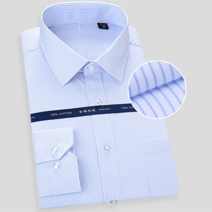 Image 4 - High Quality Non iron Mens Long Sleeved Dress Shirt White Blue Business Casual Male Social Regular Fit Plus Size