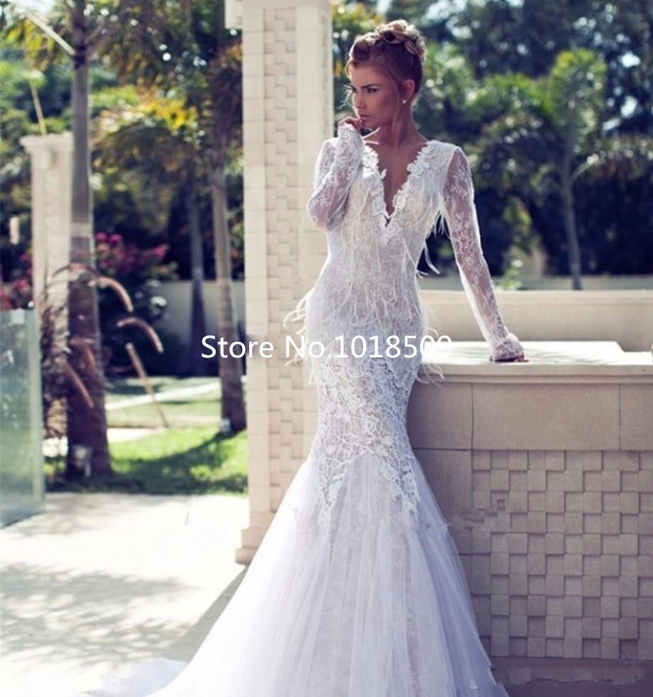 Sexy Deep V Neck Bridal Gown Robe De Mariage Appliques Brides Lace Long Sleeve Mermaid Backless Mother Of The Bride Dresses