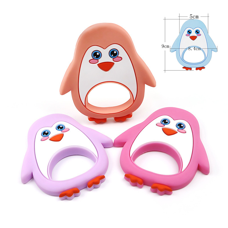 1Pc Cartoon Penguin Shaped Silicone Baby Teether BPA Free Teething Nursing DIY Pacifier Chain Silicone Accessories Teething Toys