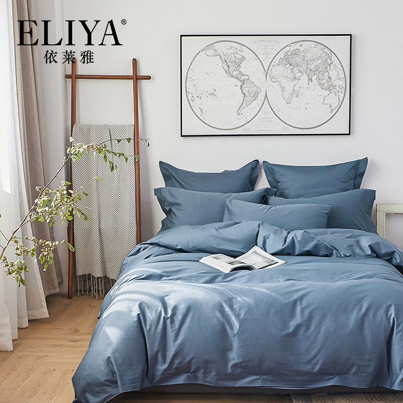 Yi Lai Ya Textile Twill Series Bed & Breakfast Clubhouse 4-piece Bedding Set Pure Cotton Simple European Style Bedding Article
