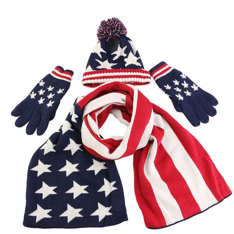 Christmas Gift Unisex Kids American UK Flag Design Knitted Hat Scarf Glove Set Women Men Thick Wool Lining 3pcs Suit Warm Set