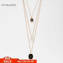 Fever&Free Vintage Black Pendant Necklace Long Chain Multi Layer Charm Statement For Women Trend Jewelry Wholesale Gift