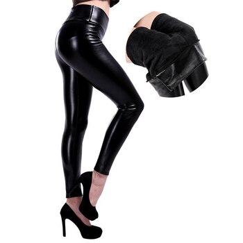 SALSPOR 5XL Plus Size Women Winter Velet Trousers Femme Black Warm Leather Nine pants Ladies Sexy High Waist Slim PU Leggins 2