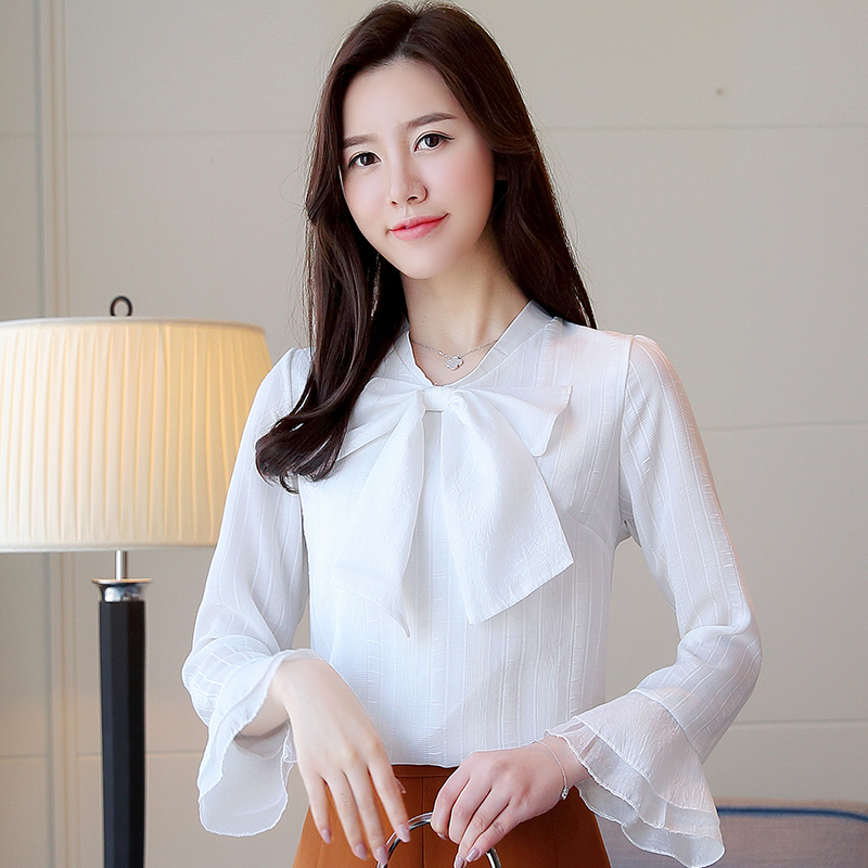 Women Blouses Korean Fashion Chiffon Blouse OL Shirt Elegant Women Bow Solid Blouses Shirts Plus Size Blusas Mujer De Moda 2019 in Blouses amp Shirts from Women 39 s Clothing