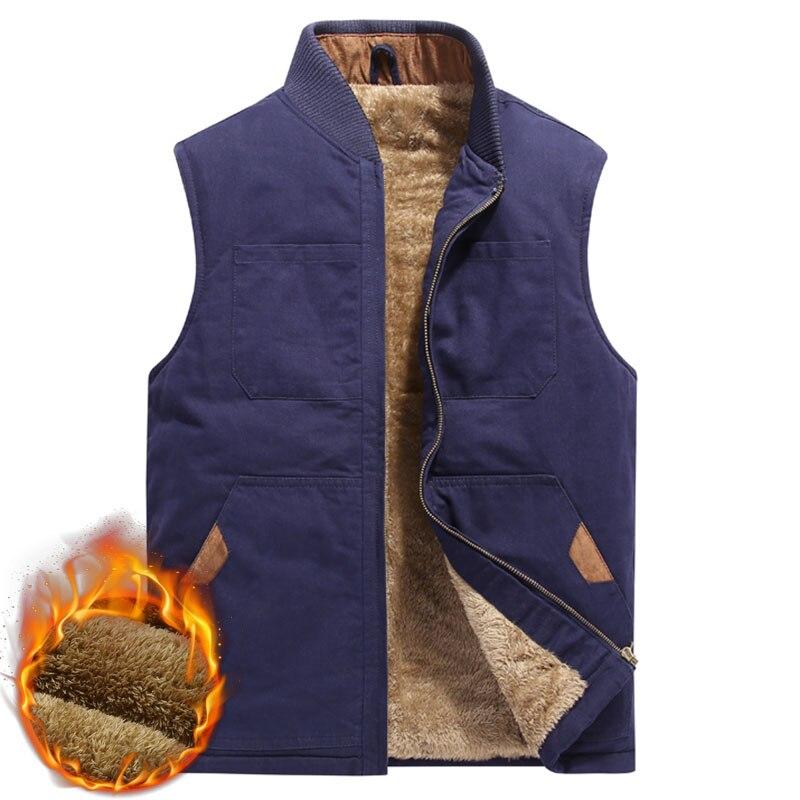 2019 Men Cotton Multi Pockets Vest Fleece Thicken Work Waistcoat Fashion Casual Warm Sleeveless Jacket Winter Vest Plus Size 5XL