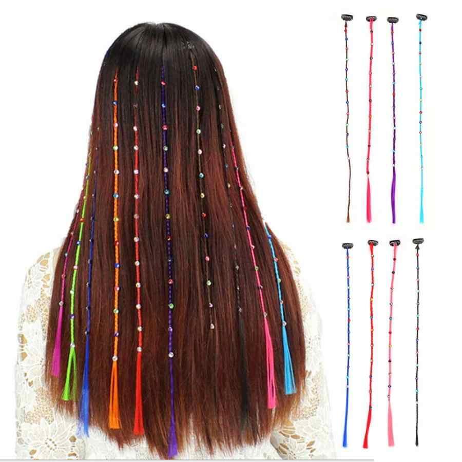 Красочный парик косички бесследный накладной парик для волос блестящие волосы удлиняющие синтетические резинки для волос Принцесса детские аксессуары для волос