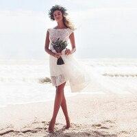 Винтажное Тюлевое Короткое свадебное платье 2019 robe de mariee ТРАПЕЦИЕВИДНОЕ мини-богемное свадебное платье без бретелек пляжное кружевное свад...