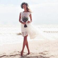 Vintage tul corto vestido de novia 2019 robe de mariee una línea mini Boho novia vestidos sin tirantes playa vestidos de boda de encaje