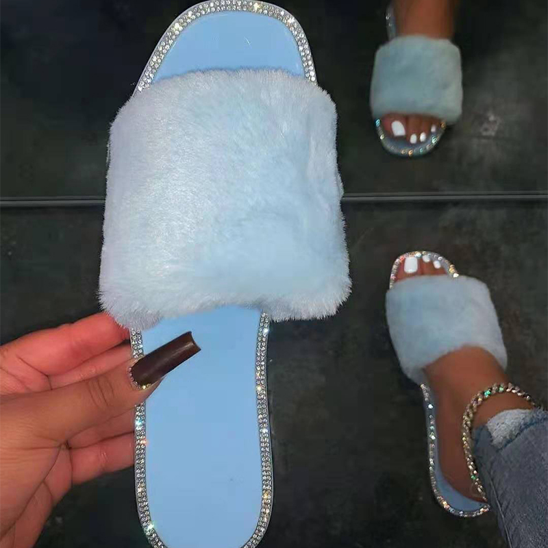 Woman Crystal Fur Home Slippers Women