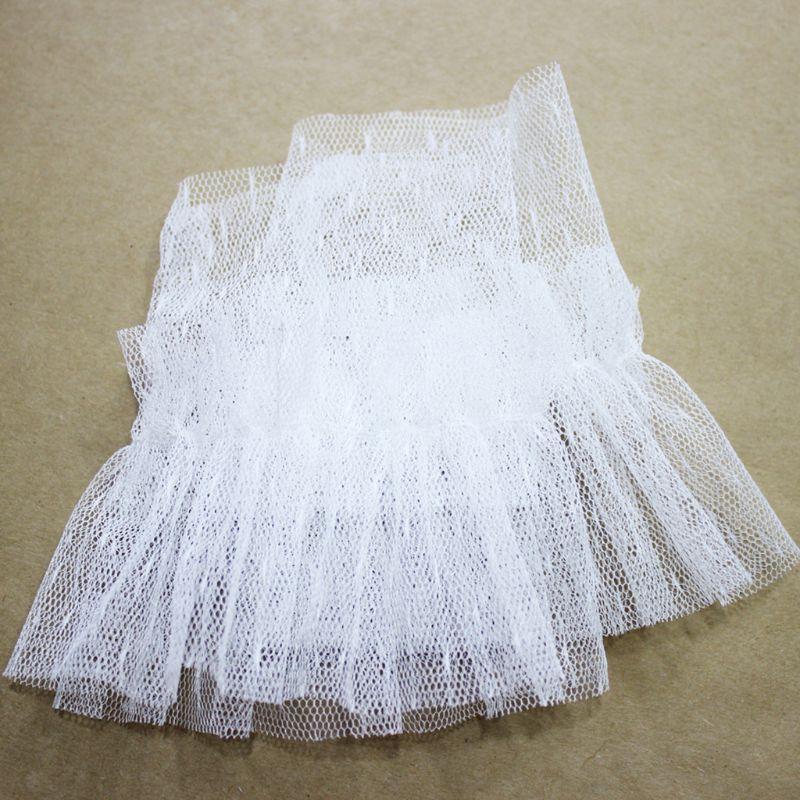 1Pair Stretchy Wrinkled Flare Fake Sleeve Net Mesh Dot False Cuffs Women Decor LX9E