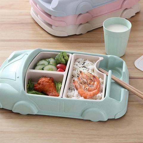 criancas utensilios de mesa forma do carro tigela copo placas recipientes comida para bebe infantil