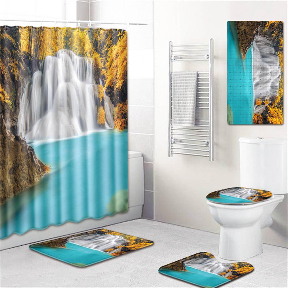 5 шт./компл. 3d Шторки для душа с принтом для ванны водонепроницаемый из полиэстера ткань Противоскользящий коврик для ванной коврик для унитаза - 2