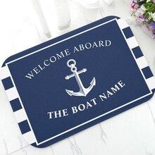 Шикарный морской якорь, лодка, темно-синие полосы, персонализированный дверной коврик, современный, под заказ, ваша лодка, название, резинов...
