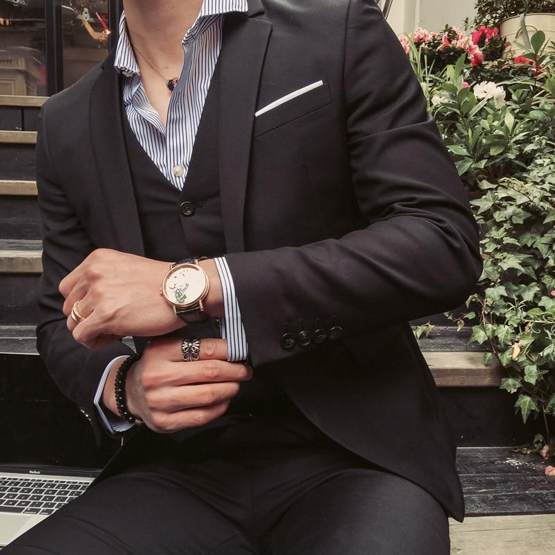 2018 New Style Men Business Casual Three-piece Set Suit Coat Groom Best Man Wedding Large Size A Buckle Suit