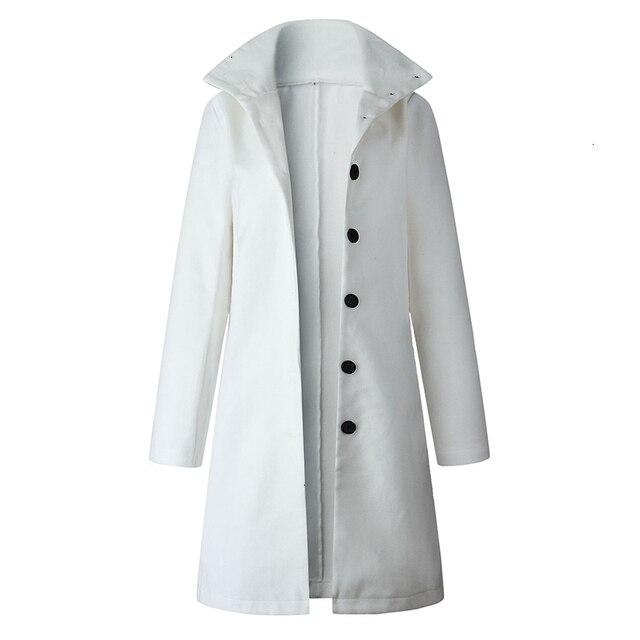 Autumn Jacket Casual Women New Fashion Long Woolen Coat Single Breasted Slim Type Female Winter Wool Coats Outerwear Overcoat 4