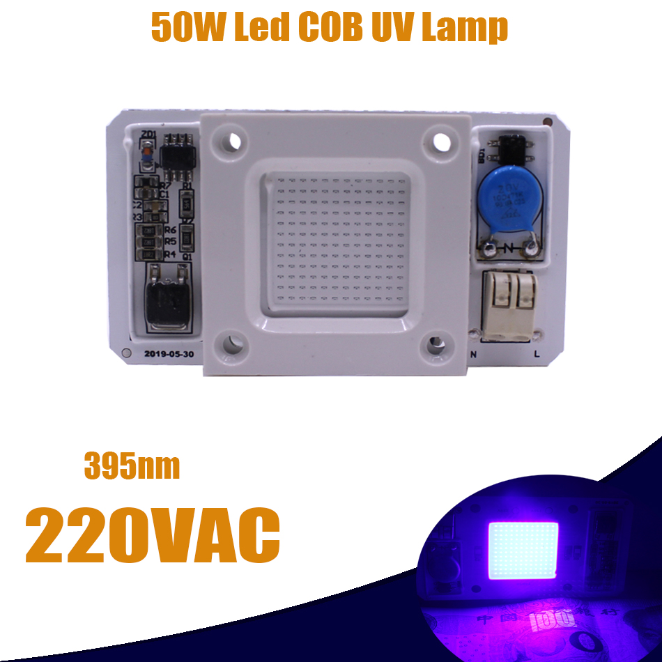50W High Power UV 395nm LED Chip Built-in Driver Chip Smart IC 220V Light Lamp 1PCS