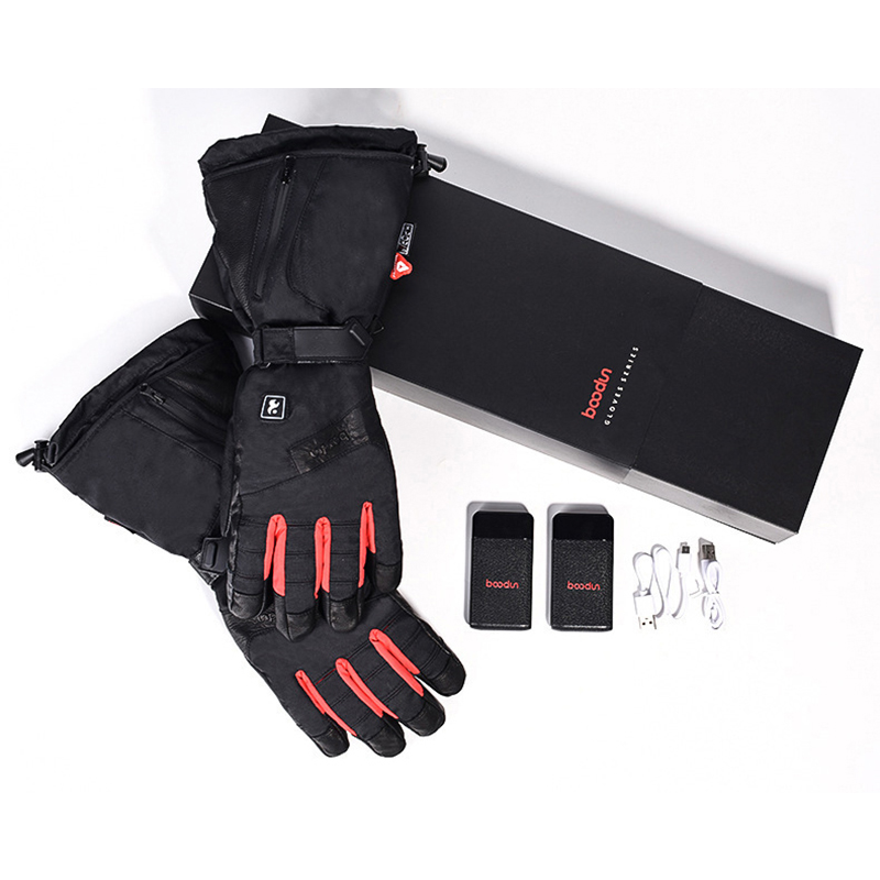 TWTOPSE cyclisme électrique chaud Sport gants avec batterie externe imperméable en peau de mouton vélo ski Snowboard randonnée hommes gants d'hiver - 6