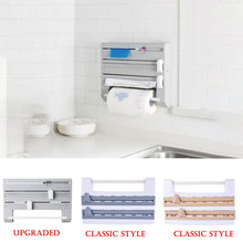 Fixado na parede de papel toalha rack tecido filme conservante titular envoltório folha estanho dispensador armazenamento organizador para cozinha banheiro