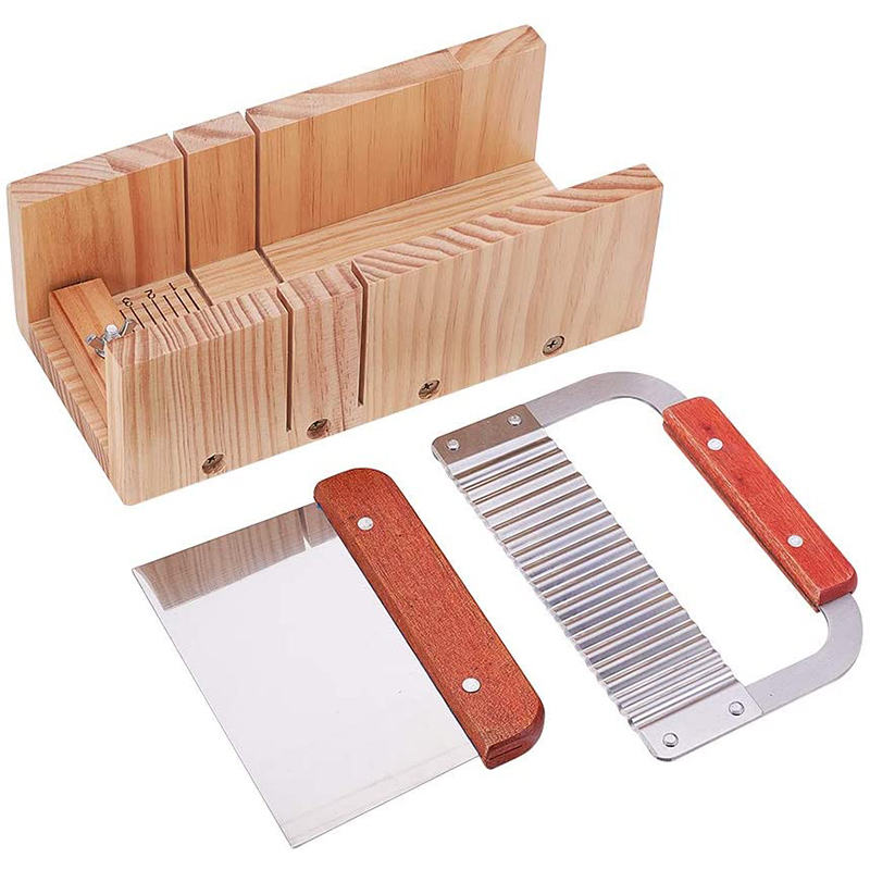 Wooden Soap Cutter Box Precise Line Cutting Adjustable Front Panel Comes with Cutter