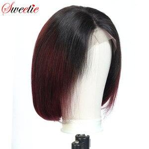 Image 5 - סוויטי 13x4 קצר בוב תחרה מול שיער טבעי פאה 150% גורל שיער טבעי פאות 1b/99J 1b/30 1b/350 ברזילאי ישר רמי שיער
