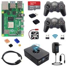 ラズベリーパイ4モデルbゲームキット8ギガバイト + 2.4ghzのワイヤレスゲームパッド + 64グラム32グラムsdカード + ケース + スイッチ電源 + ファン + hdmiケーブル