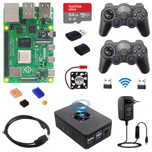 Raspberry Pi 4 Modell B Spiel Kit 2/4/8GB + Wireless Gamepads + 64G/32GB SD Karte + Fall + Schalter Netzteil + Fan + Video Kabel