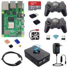 Raspberry pi 4 modelo b jogo kit 8gb + 2.4ghz gamepads sem fio 64g 32g cartão sd caso interruptor de alimentação ventilador cabo hdmi