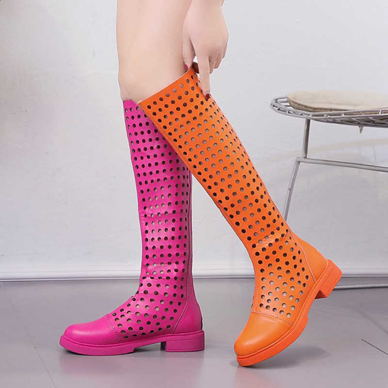 ถ้า IFOND รองเท้าผู้หญิงฤดูร้อน PU หนังรอบ Toe กลางเข่าส้นสูงรองเท้าผู้หญิงแฟชั่นซิปรองเท้าสตรี zapatos mujer