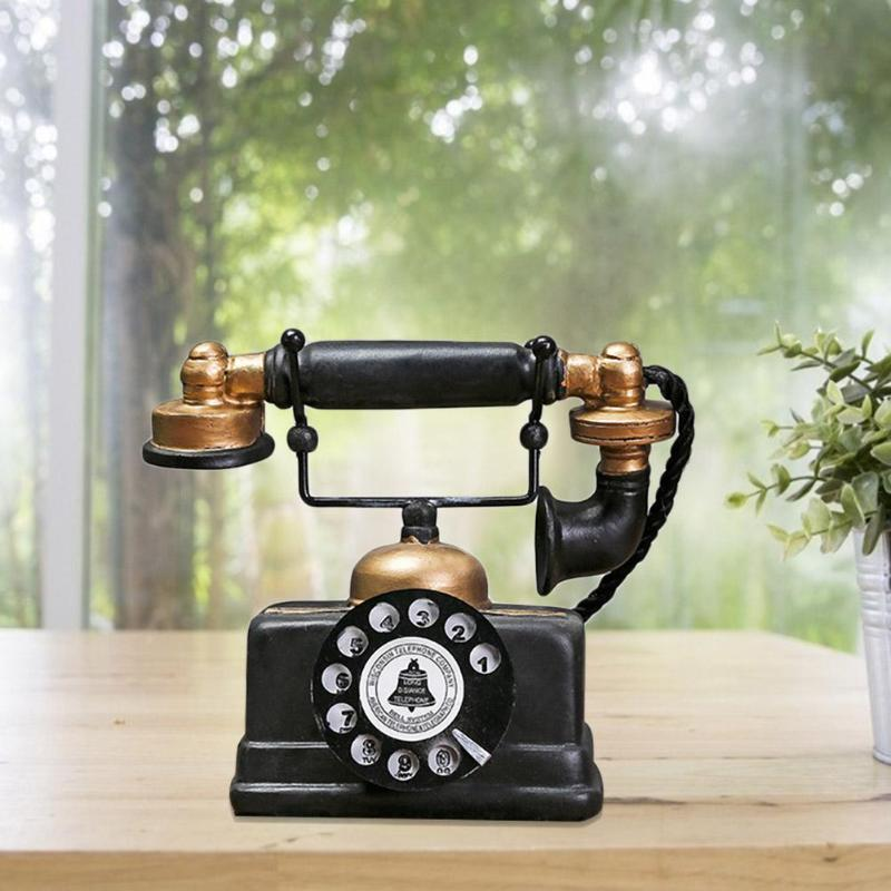 Vintage Telephone Model Antique Desktop Ornament Craft Bar Home Decoration Gift Exquisite Workmanship Simple Atmosphere