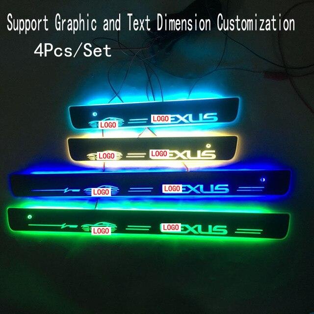 4 יח\סט ישים כדי LLEXUS הזרמת צבע LED מנורת אדני דלת דוושה מוזמן/דינמי תאורת רכב סף לקסוס ES