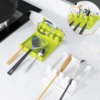 Soportes de plástico para cuchara de cocina, espátula, estante organizador, cuchara, descanso, palillos, soporte, almohadilla de deslizamiento, soporte de cocina