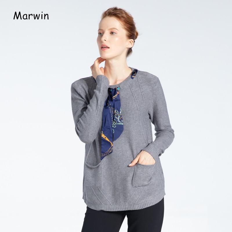 Marwin 2020, Новое поступление, весенние однотонные уличные Повседневные пуловеры с круглым вырезом на шнуровке, стандартные женские свитера