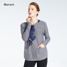 Marwin 2020 Nuovo-Prossima Primavera Solid O-Collo Lace-Up High Street casual Pullover Donne di Serie Maglie e Maglioni(China)