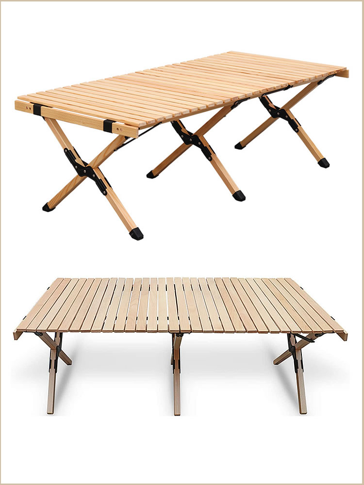 Camping Folding Wood Table- Portable Foldable Outdoor Picnic Table,Cake Roll Wooden Table Picnic, Camp, Travel,Garden BBQ