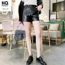 Fashion New Autumn Winter Womens Genuine Leather Shorts High Waist Sheepskin Casual Moto Biker Female Black Wide Leg Hot Shorts